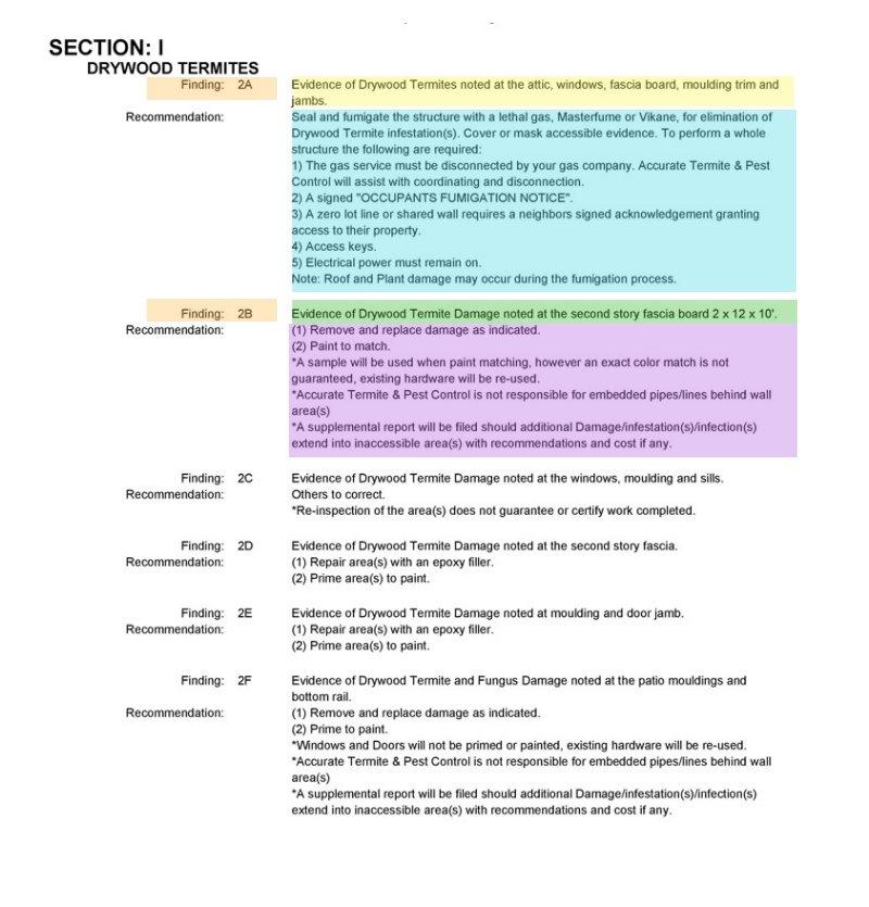 Sction 1: Drywood termites report